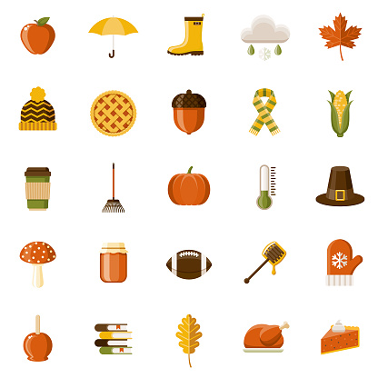 Autumn Flat Design Icon Set - gettyimageskorea