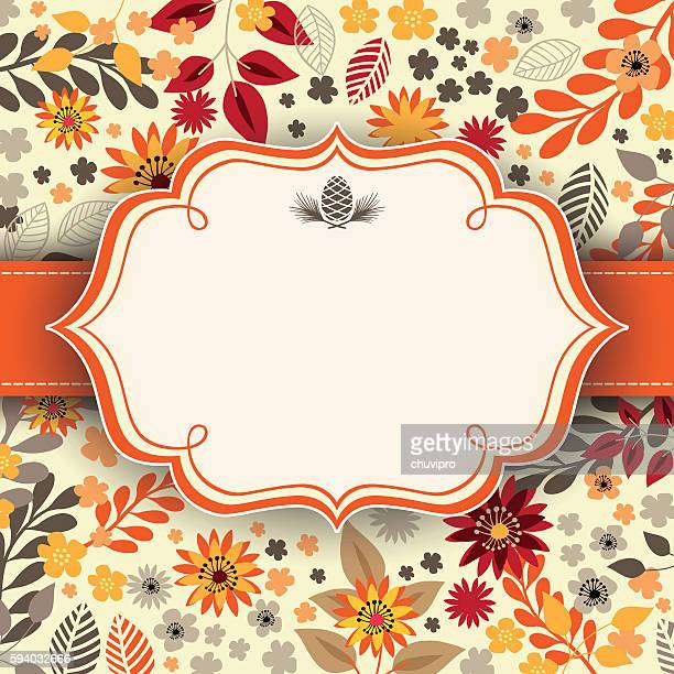 autumn floral background with frame and ribbon in the middle - flowers white background stock illustrations, clip art, cartoons, & icons