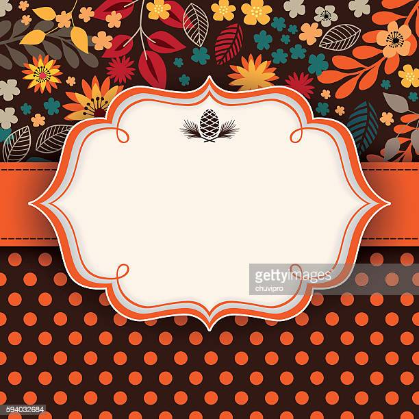stockillustraties, clipart, cartoons en iconen met autumn floral background with frame and ribbon in the middle - bruine achtergrond