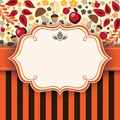Autumn floral background with frame and ribbon in the middle