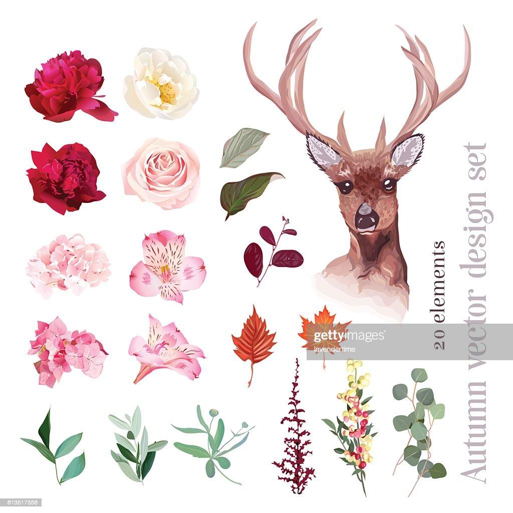 Autumn floral mix, reindeer head vector design set