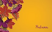 Autumn floral paper background with colorful tree leaves on yellow background, design elements for the fall season banner, poster, flyer or greeting card, paper cut out art style