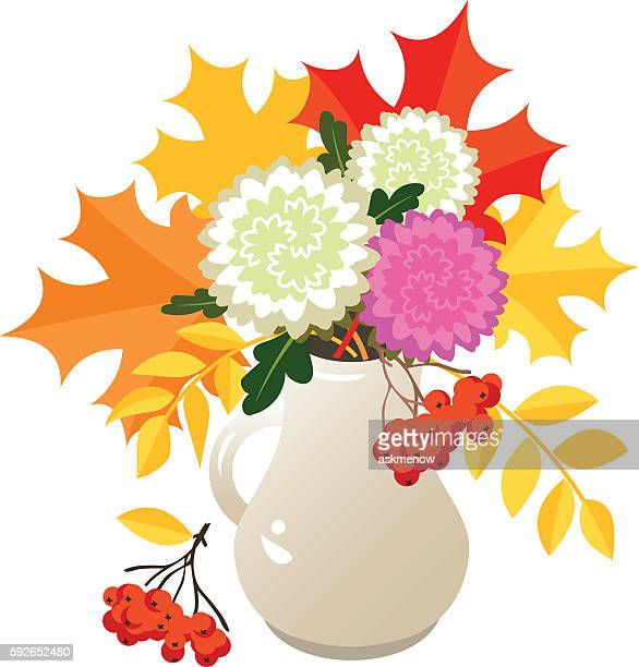 Autumn flowers and leaves