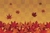 Autumn foliage in orange brown background