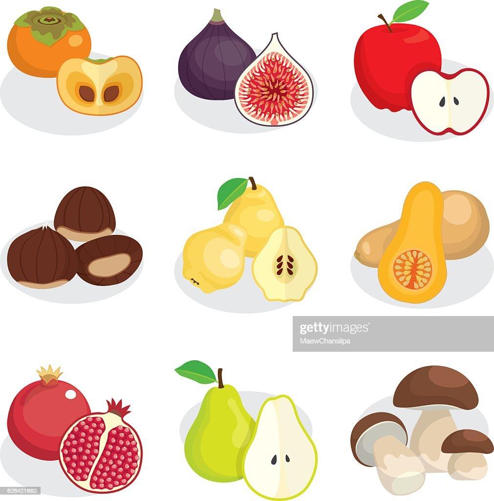 autumn fruits nuts and mushroom
