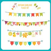 Autumn Garland And Flags Set. Festive Clip Art.