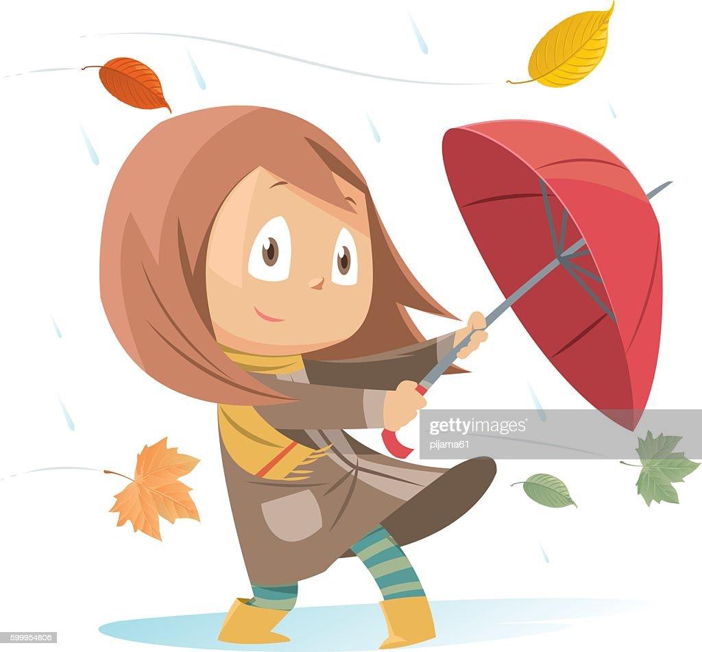 Autumn girl : stock illustration