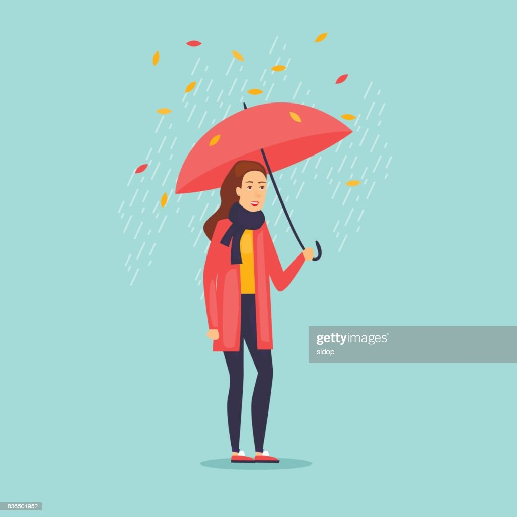 Autumn girl with an umbrella. Flat design vector illustration.