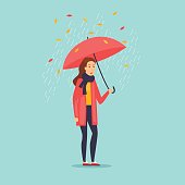 Autumn girl with an umbrella. Flat design vector illustration.