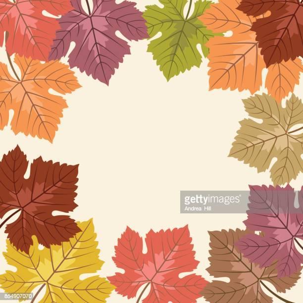Hoja de uva de otoño Vector marco con copia espacio
