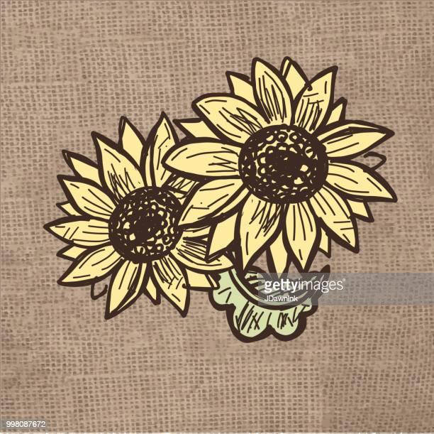 autumn harvest food sunflowers burlap background - sunflower stock illustrations, clip art, cartoons, & icons
