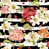 Autumn Hortensia and Lily Flowers Backgrounds. Seamless Floral Shabby Chic Pattern in vector