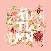 Autumn Hortensia Flowers Background Design in Vector. T-shirt Graphic, Fashion Print.