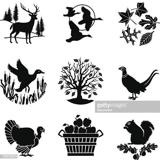 autumn icons - turkey bird stock illustrations