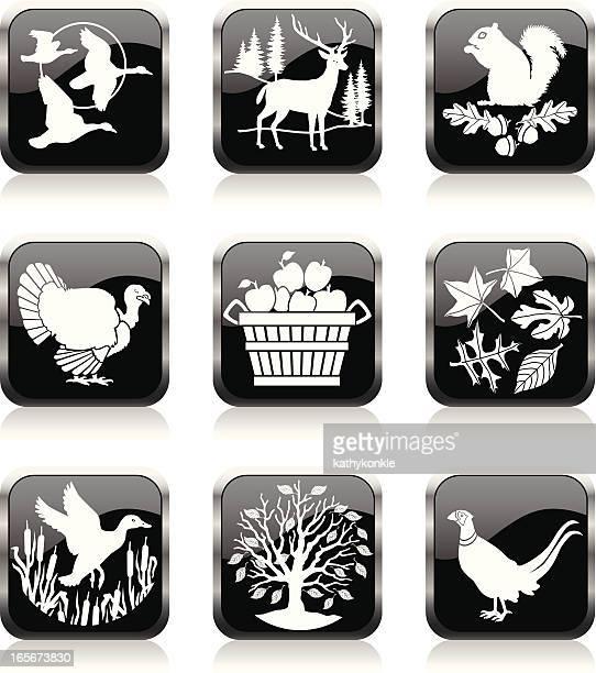 autumn icons - duck stock illustrations, clip art, cartoons, & icons