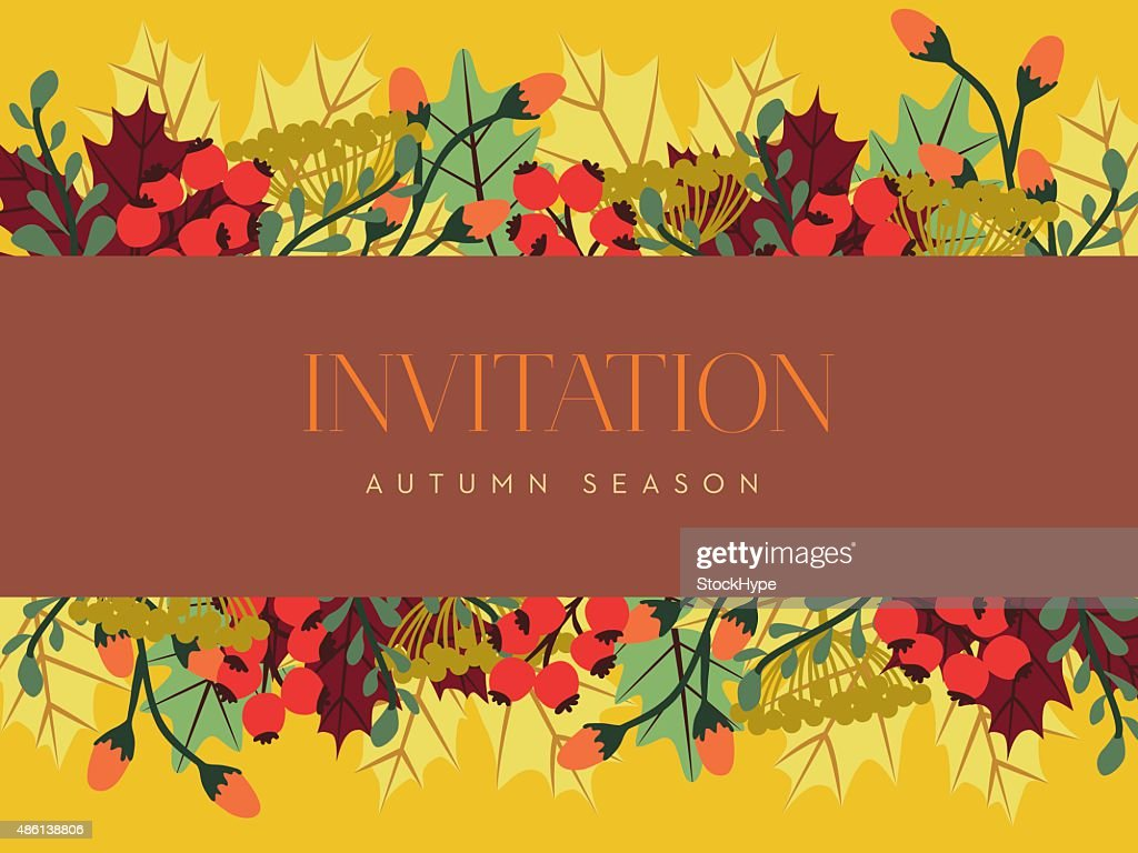 Autumn invitation card with a dark red banner vector art getty images autumn invitation card with a dark red banner vector art stopboris Images
