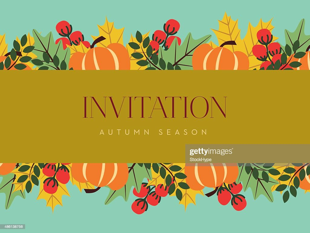 Autumn invitation card with golden banner vector art getty images autumn invitation card with golden banner vector art stopboris Images