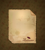 autumn invitation, empty old paper letter on the autumn background, vector