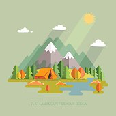 Autumn  landscape. Hiking and camping. Vector flat illustration