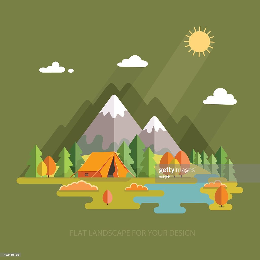 Autumn landscape. Morning landscape in the mountains. Hiking and camping