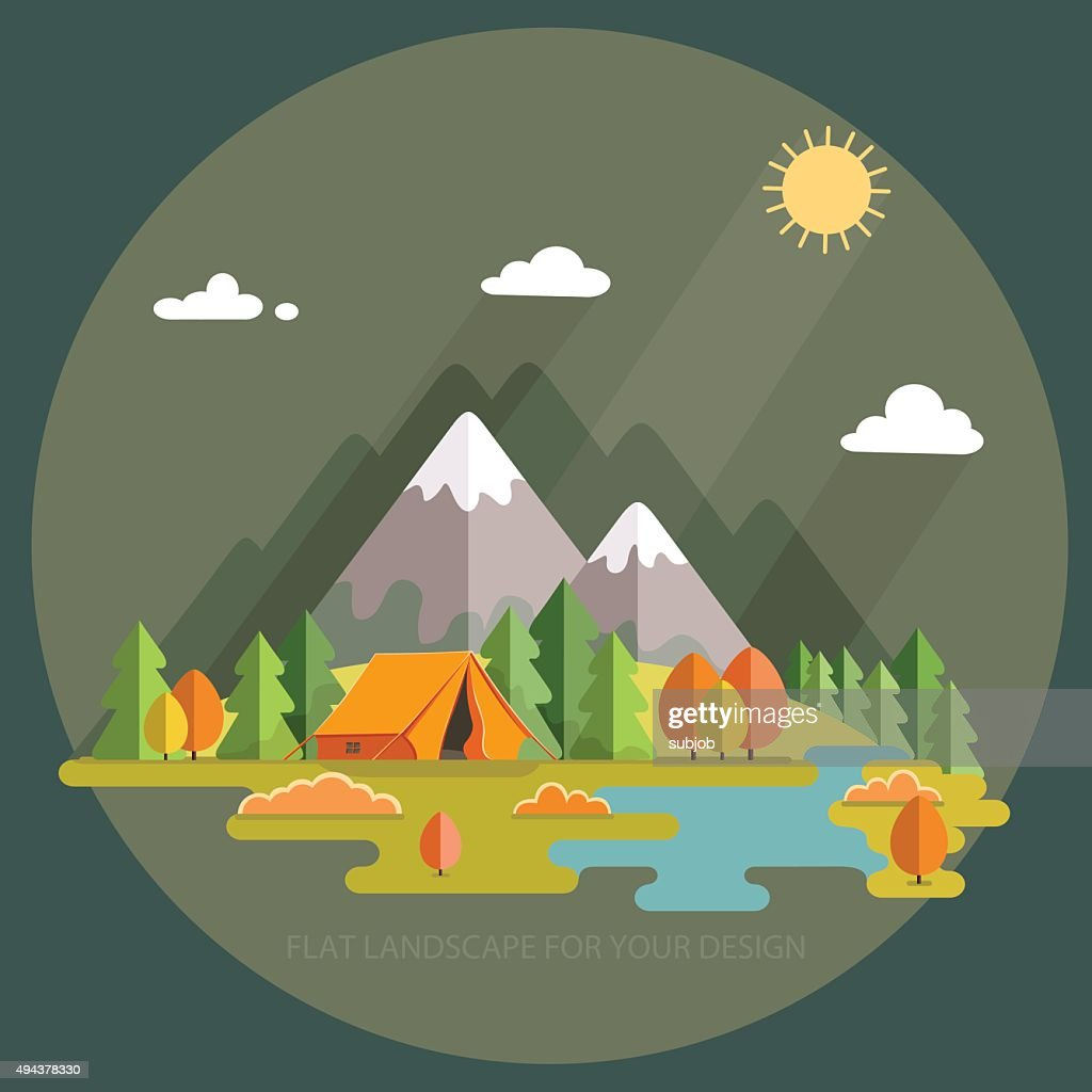 Autumn  landscape. Morning landscape in the mountains. Vector flat