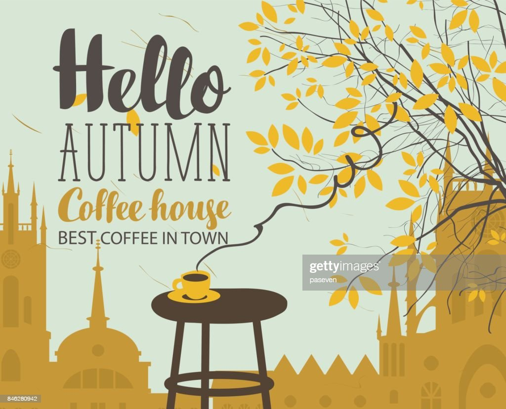 autumn landscape on coffee theme with cup