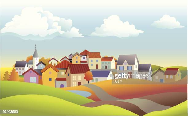 Autumn landscape with houses
