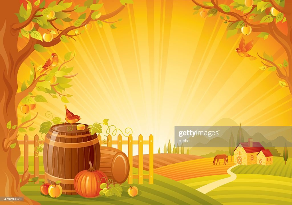Autumn lanscape with barrels