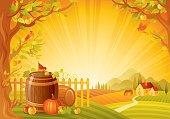 Autumn lanscape with barrels