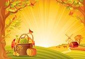 Autumn lanscape with fruit basket