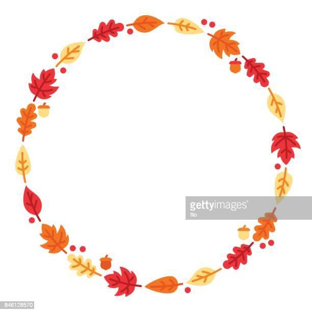 autumn leaf circle - autumn stock illustrations
