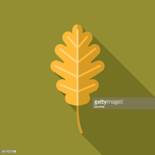 autumn leaf flat design thanksgiving icon - oak leaf stock illustrations