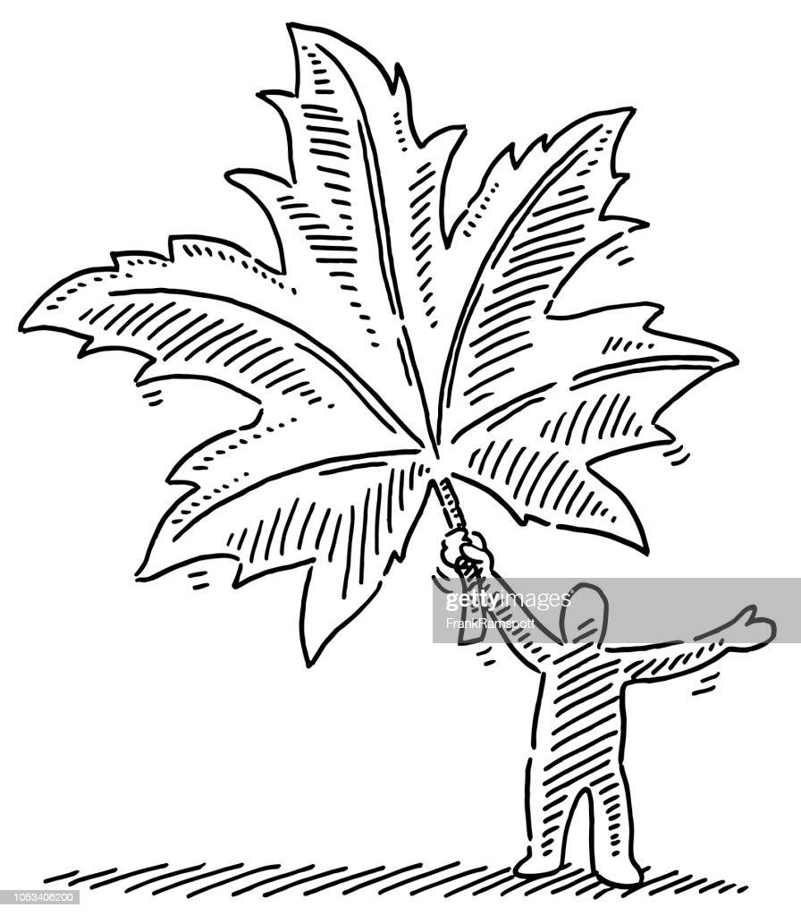 Herbstblatt Menschenfigur Zeichnung : Vektorgrafik