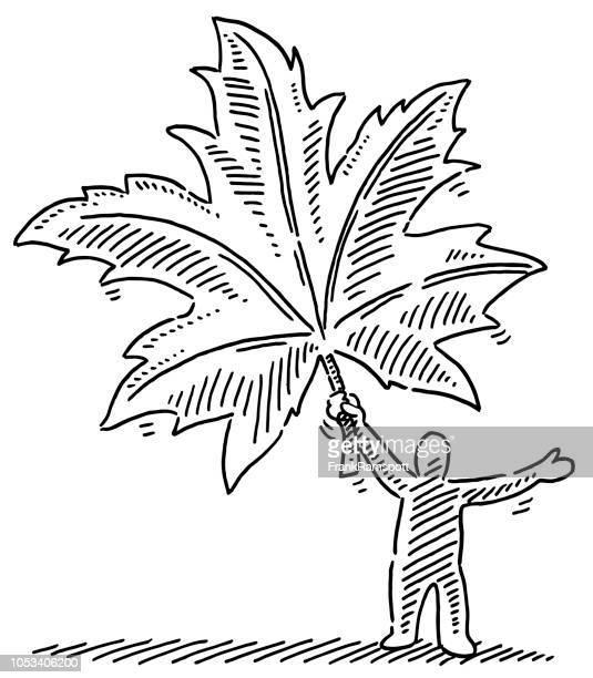 Herbstblatt Menschenfigur Zeichnung