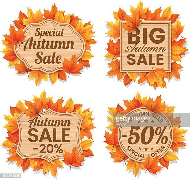 autumn leaf sale tags - autumn stock illustrations