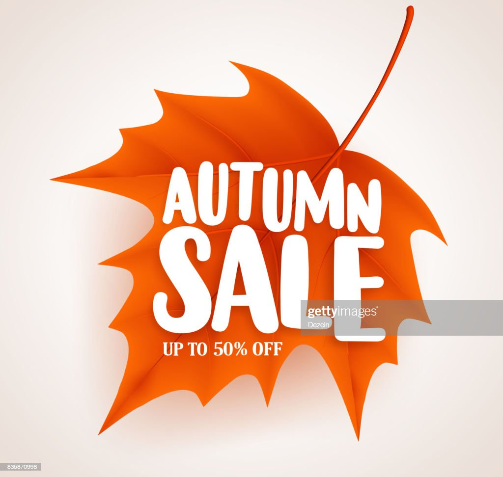 Autumn leaf with sale text in white background vector banner