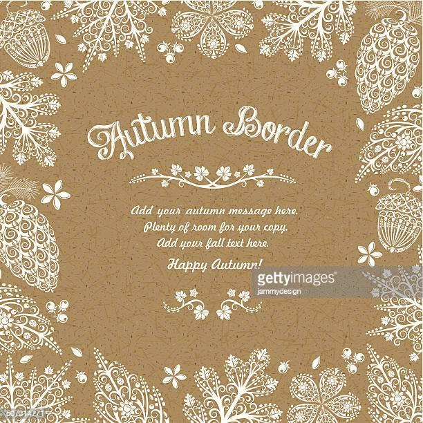 illustrazioni stock, clip art, cartoni animati e icone di tendenza di foglie autunnali confine - carta da pacchi