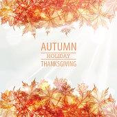 Autumn leaves frame vector design. Thanksgiving Day
