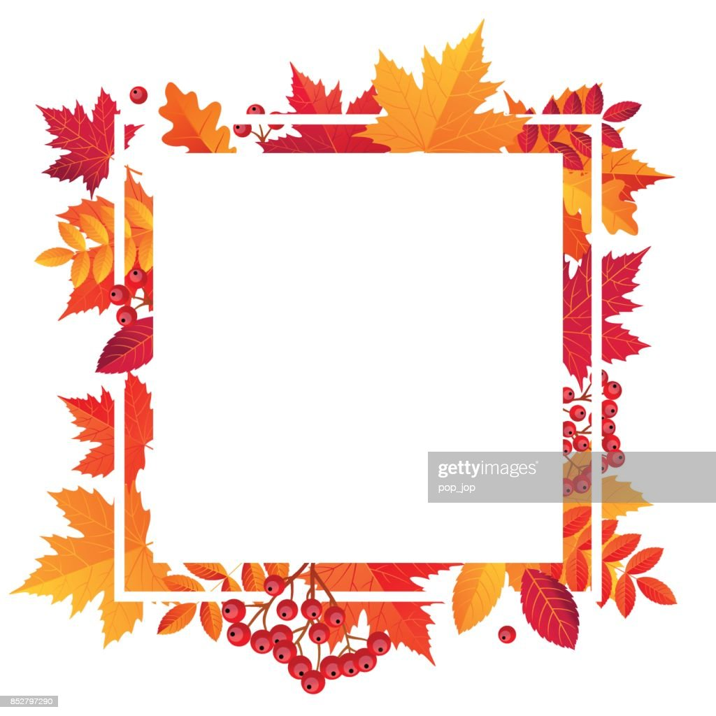 Autumn Leaves Sale Square Frame Empty. Vector illustration template