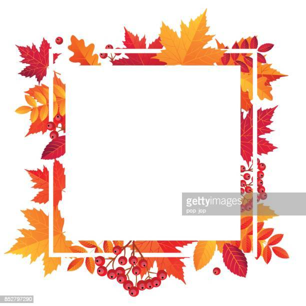 Herbst Blätter Verkauf Square Frame leer. Vektor-Illustration-Vorlage