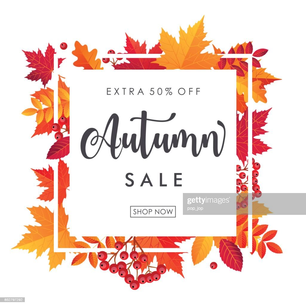 Autumn Leaves Sale Square Frame. Vector illustration template : Vector Art