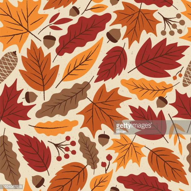 stockillustraties, clipart, cartoons en iconen met herfst bladeren naadloze patroon. - herfst