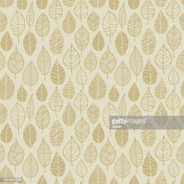 autumn leaves seamless pattern - brown stock illustrations