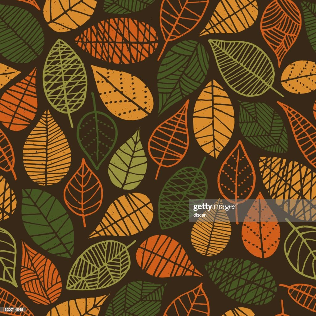 Autumn Leaves seamless pattern : Vector Art