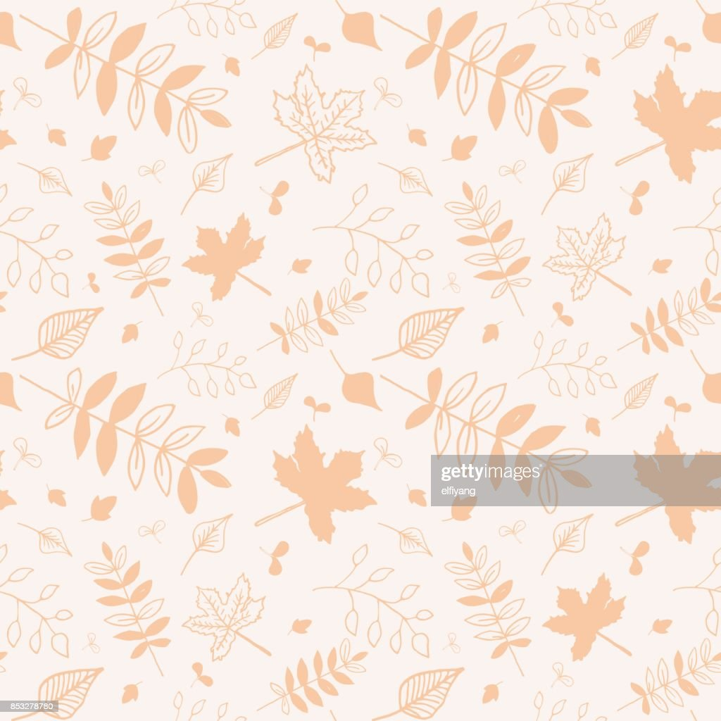 Autumn leaves seasonal pattern colored in yellow with white background.