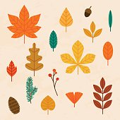 Autumn leaves set. Flat design modern vector illustration concept.