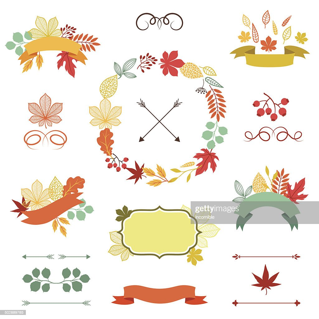 Autumn leaves set of wreath, ribbons and labels.