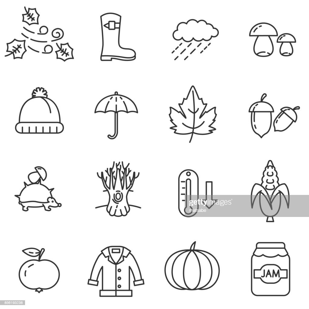 Autumn linear icons set.