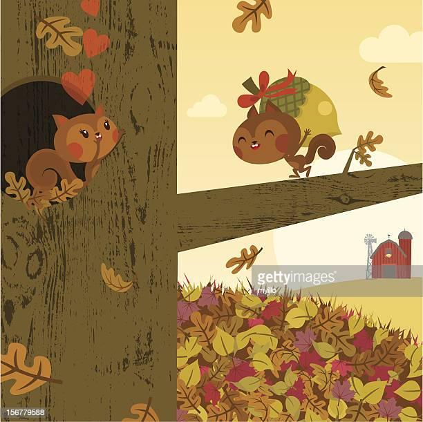autumn love.squirrel fall gift happy vector illustration - squirrel stock illustrations