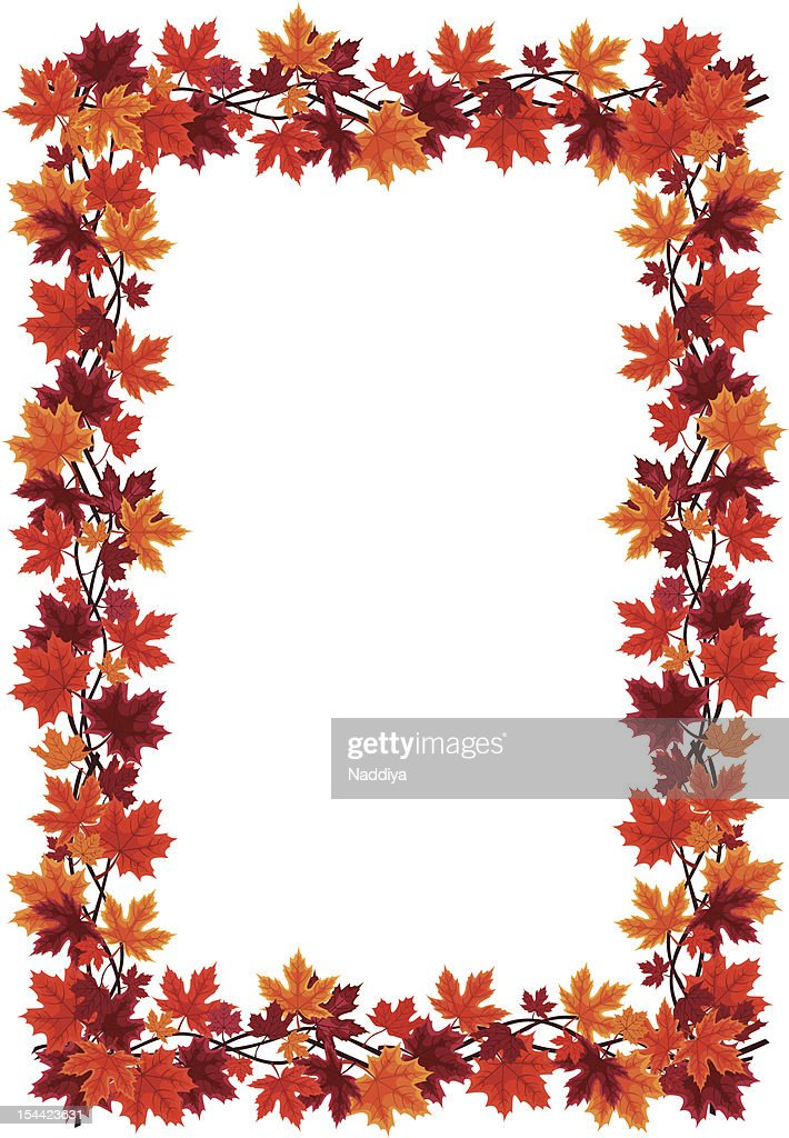 Autumn Maple Leaves Frame Vector Illustration Vector Art | Getty Images